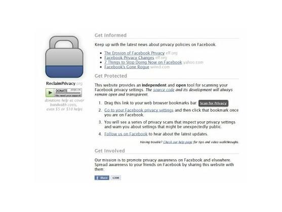 Reclaimprivacy.org untersucht Facebook-Profile auf Datenlecks.