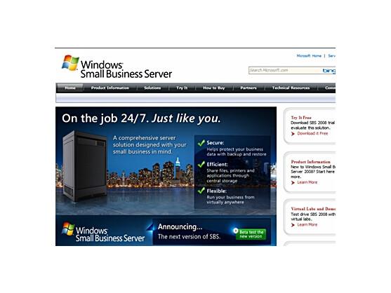 Der Small Business Server (SBS) soll auch kleinere Betriebe mit weniger als 25 Mitarbeitern den Weg ins Cloud Computing ebnen. Das Bild zeigt die Website für den SBS.