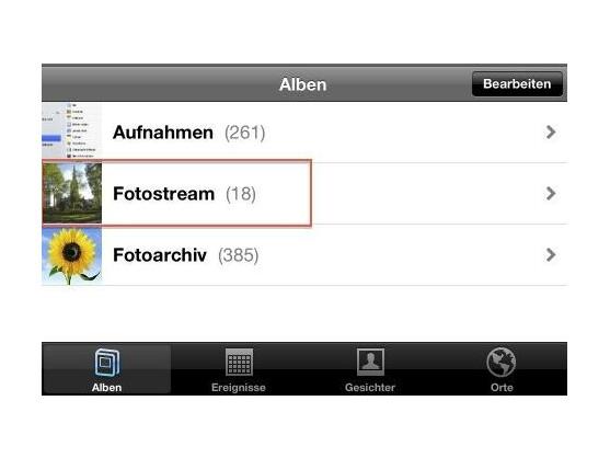 """Nach der Aktivierung von Fotostream erscheint ein gleichnamiger Ordner in der """"Fotos""""-App."""