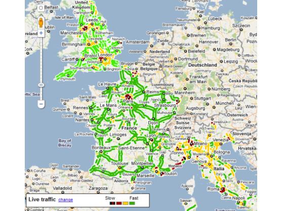 Aktuelle Verkehrsinformationen: Ein Blick auf Google Maps zeigt, dass in Deutschland entsprechende Daten noch fehlen.