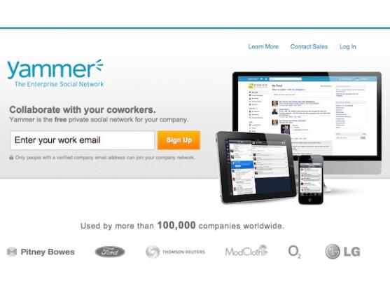 Die Anmeldung bei Yammer ist direkt über die Startseite möglich.