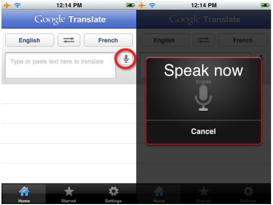 Aufnahme läuft: Wenn das Mikrofon-Symbol neben dem Textfeld erscheint, wird die Spracheingabe unterstützt.