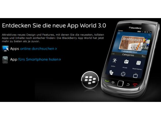 Die BlackBerry App World hat ein neues Design erhalten.
