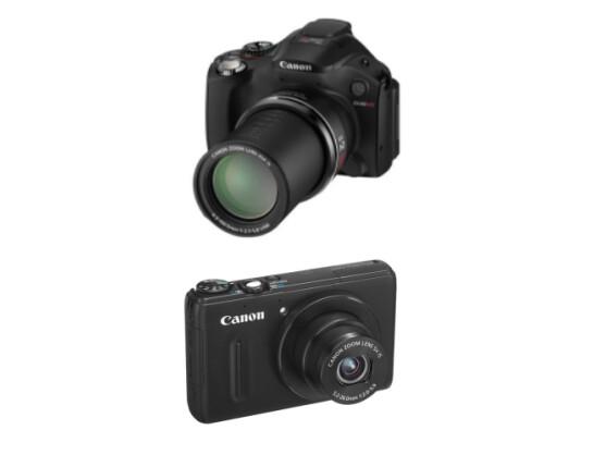 Die Canon Powershot SX40 HS (oben) und die Powershot S100 kommen für etwas mehr als 400 Euro in den Handel.