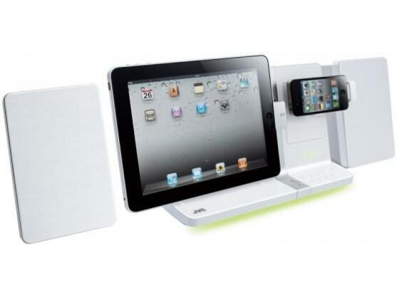 Duales Docking-System: Das JVC UX-VJ5WE nimmt iPad und iPhone gleichzeitig auf.