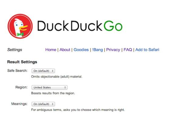In den Einstellungen von Duck Duck Go lässt sich auch der Kinderschutz abschalten.