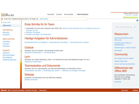 Im ersten Schritt muss der Nutzer in die Verwaltungskonsole von Office 365 wechseln.