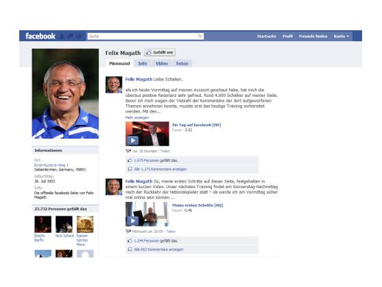 Der Facebook-Auftritt von Felix Magath.