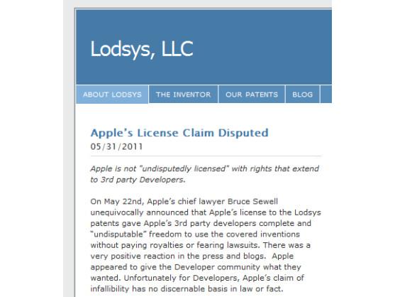 Im Firmen-Blog erklärt Lodsys, dass sich der Patentvertreter auch weiterhin im Recht sieht.