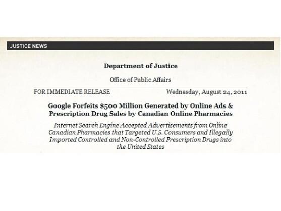 Google muss eine halbe Milliarde US-Dollar zahlen, um die Ermittlungen des US-Justizministeriums zu beenden.