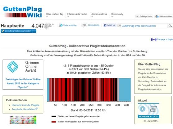 Das GuttenPlag Wiki ist einer der Preisträger des Grimme Online Awards 2011.