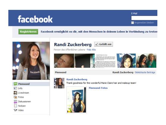 Auf ihrem Facebook-Profil gibt Sie sich noch ganz mit dem Unternehmen verbunden, tatsächlich gehen Randi Zuckerberg und Facebook künftig getrennte Wege.
