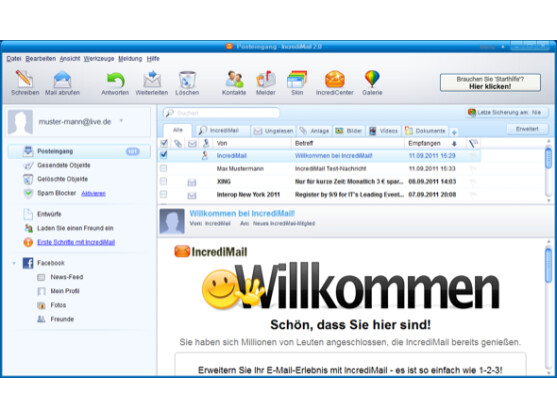 incredimail e mail programm mit facebook anbindung netzwelt