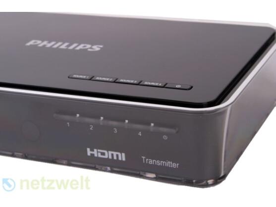 Die Installation erfolgt per Plug & Play, am Transmitter (Foto) lässt sich die Quelle auswählen - HDMI oder Component.