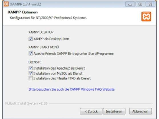 Bei der Installation von XAMPP kann der Nutzer den Server als Windows-Dienst einrichten.