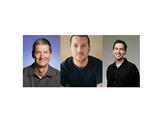 Auf sie kommt es jetzt an: Tim Cook (Chief Operating Officer), Jonathan Ive (Senior Vice President, Industrial Design) und Scott Forstall (Senior Vice President, iPhone Software) müssen bei Apple jetzt für einige Zeit ohne Steve Jobs auskommen. (Fotos: