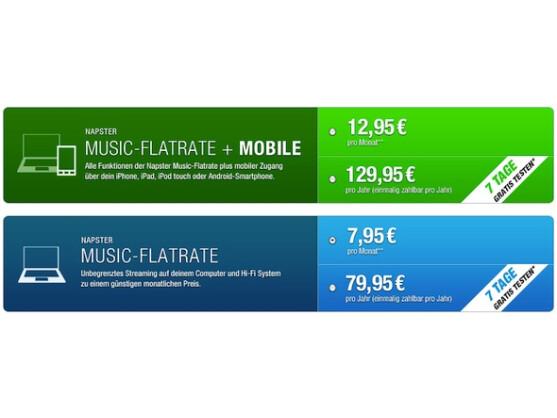 Für die mobile Variante der Musik-Flatrate berechnet Napster einen etwas höheren Preis.