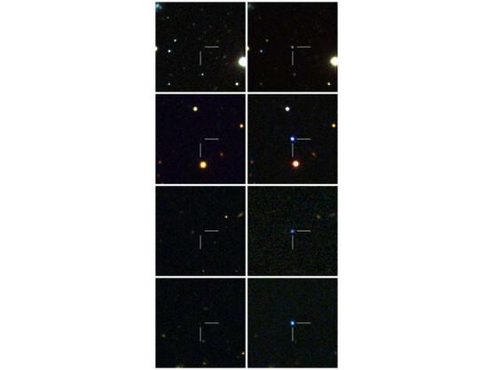 Die Bildern zeigen Ausschnitte der Galaxien vor und nach den Sternenexplosionen.