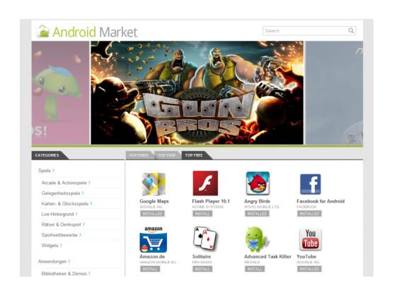 Der neue webbasierte Android-Market steht in der Kritik.