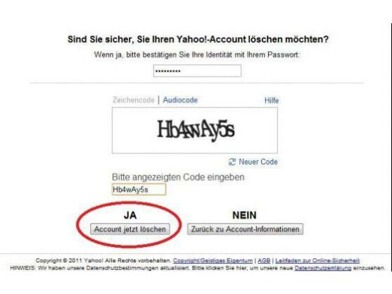 Noch ein Klick, dann sind die Yahoo-ID und das dazugehörige E-Mail-Konto gelöscht.
