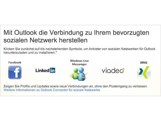 Outlook unterstützt alle wichtigen Netzwerke.
