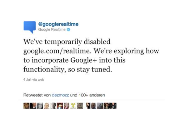 Per Twitter teilte Google die vorübergehende Deaktivierung der Echtzeitsuche mit.