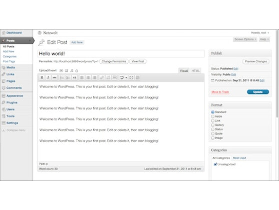 Im Posts-Bereich ist die Bearbeitung von Blog-Beiträgen möglich.
