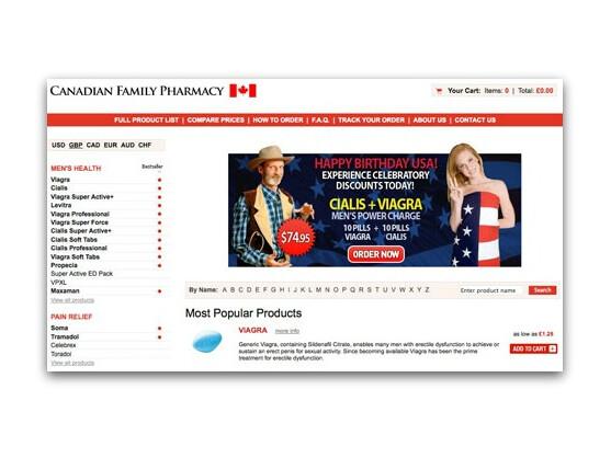 Potenzmittel günstig: Zum Unabhängigkeitstag lockten Spammer Nutzer über angebliche Google+-Einladungen auf solche Seiten.
