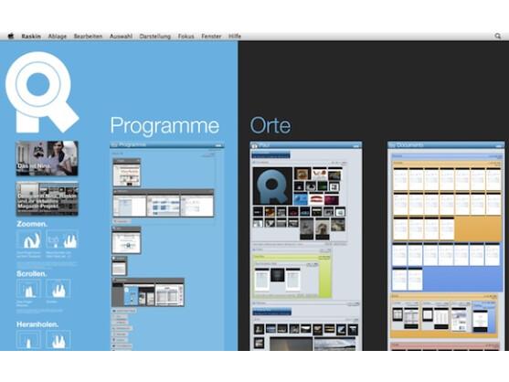 Raskin macht den Desktop-Hintergrund zur interaktiven Arbeitsfläche.
