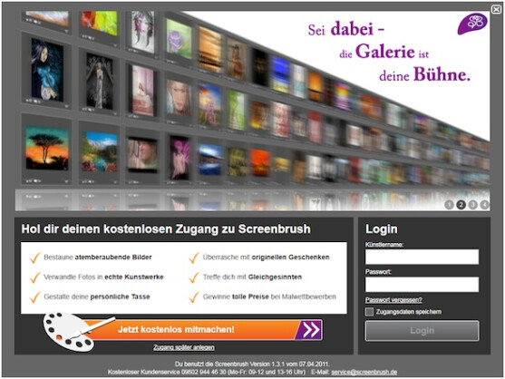 screenbrush 1 3 freeware zeichenprogramm mit virtueller galerie netzwelt. Black Bedroom Furniture Sets. Home Design Ideas
