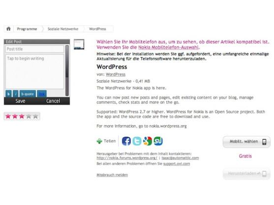 Symbian S60 und Maemo werden weiterhin mit WordPress-Apps versorgt.