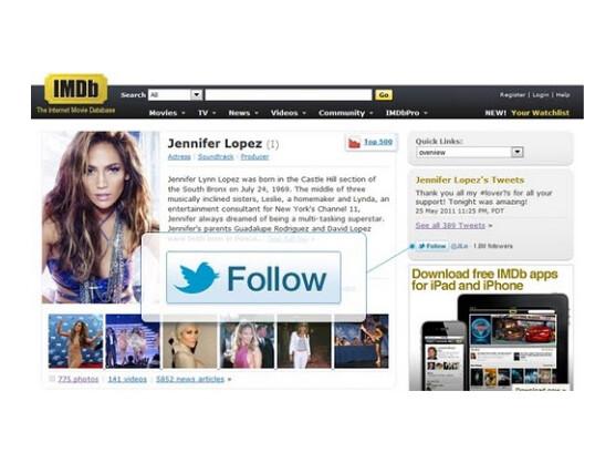 Über den Follow-Button kann der Nutzer nun Stars oder Firmen leichter auf Twitter folgen.