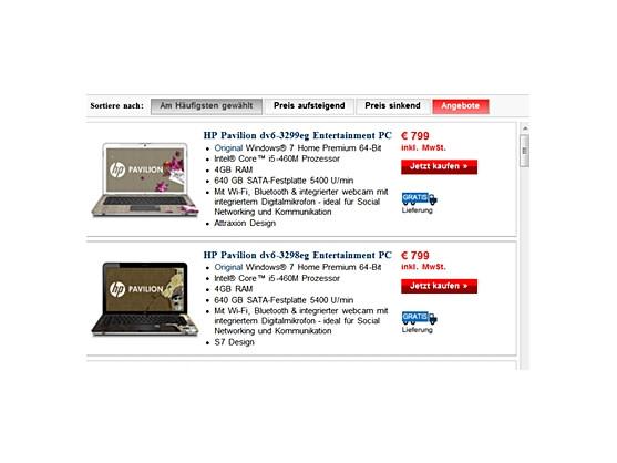 Verwirrend: Gleicher Preis, gleicher Prozessor, gleicher Arbeitsspeicher, nur das Design ist verschieden. Notebooks im Onlineshop von HP.