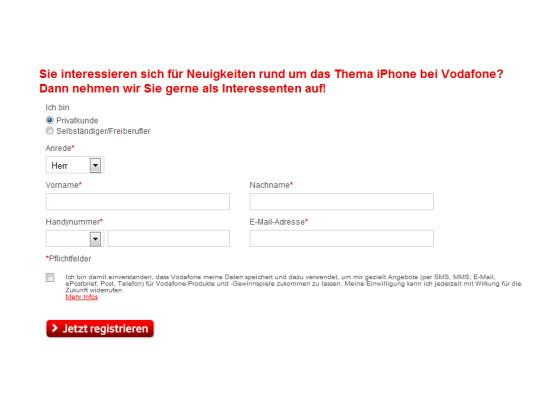 Vodafone hat die Webseite zur Vorregistrierung des iPhone 5 freigeschaltet.