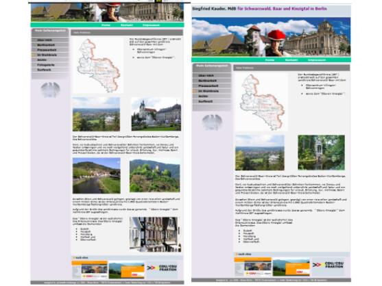 Die Webseite von Siegfried Kauder: Links ist die Unterseite Wahlkreis mit den offenbar missbräuchlich genutzten Fotos zu sehen, rechts die inzwischen bereinigte Seite.
