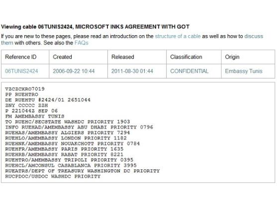 Das auf WikiLeaks veröffentlichte Kabel zeigt enge Verbindungen zwischen Microsoft und der tunesischen Regierung seit 2006.