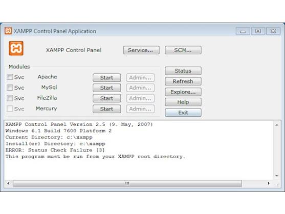 Das XAMPP Control Panel erlaubt die Steuerung des Webservers und seiner Dienste.