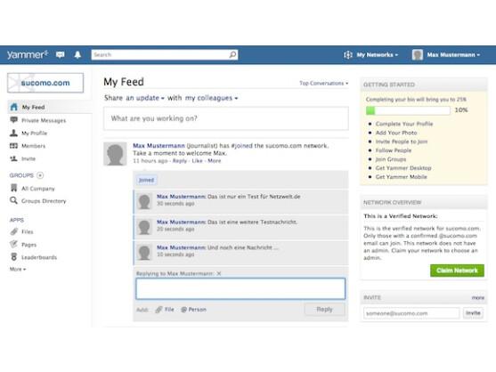 Yammer bietet ein kostenloses Soziales Netzwerk, das vollkommen privat sein kann.