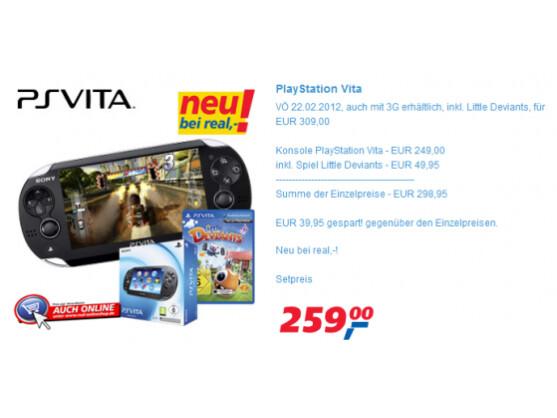 Ab Mittwoch, 22. Februar, ist die PlayStation Vita bei Real erhältlich.