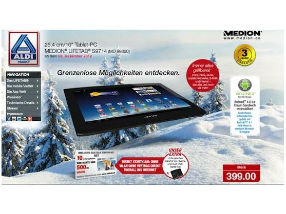 Ab Nikolaus bei Aldi: Medion Lifetab S9714 für 399 Euro.