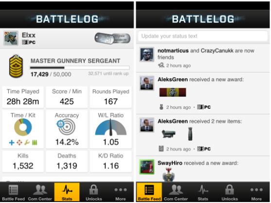 Ab sofort gibt es das Battlelog von Battlefield 3 auch als App.