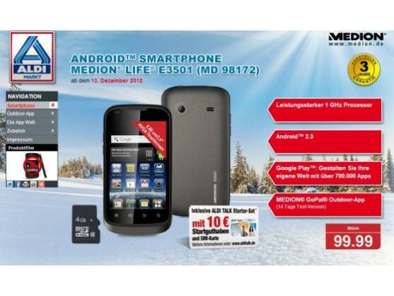 Aldi Nord bietet ab dem 13. Dezember ein Android-Smartphone an.