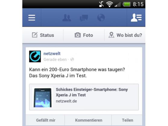 Android-Nutzer erhalten durch ein Facebook-Update den Teilen-Button.