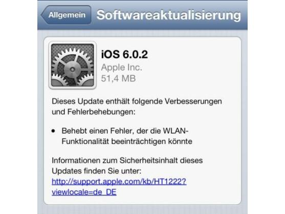 Apple stellt ein Update für iOS 6 bereit.