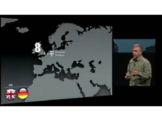 Apples Marketing-Manager Phil Schiller stellte auf der Keynote die Provider vor, die LTE im neuen iPhone unterstützen.