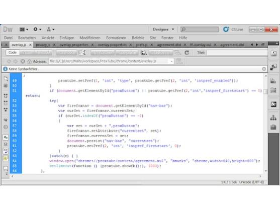 Ein Ausschnitt aus der Umgebung, in der ProxTube entwickelt wird.