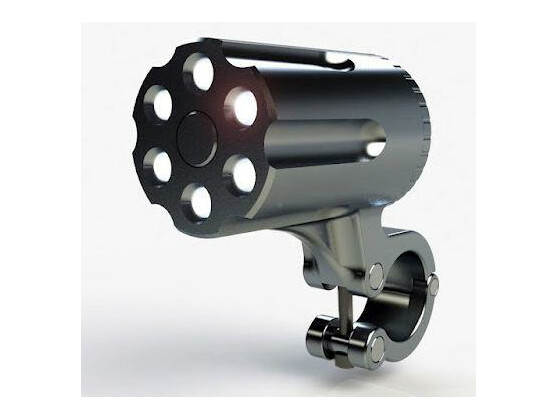 Das Fahrradlicht erinnert an eine Revolvertrommel, weil auch der Stadtverkehr manchmal einem Krieg ähnelt, wie die beiden Entwickler schreiben.