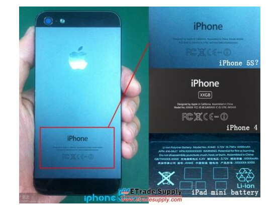 Dieses Bild soll die Rückseite des Apple iPhone 5S zeigen.