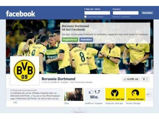 Der BVB - Deutscher Fußballmeister und auch bei Facebook recht beliebt.