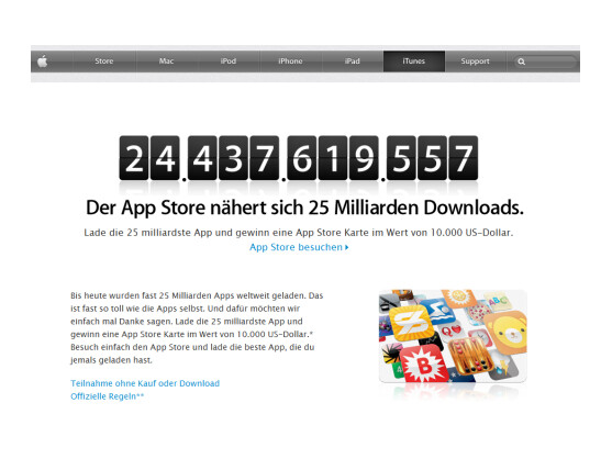 Der Countdown läuft. Bald zählt der Apple App Store 25 Milliarden Downloads.